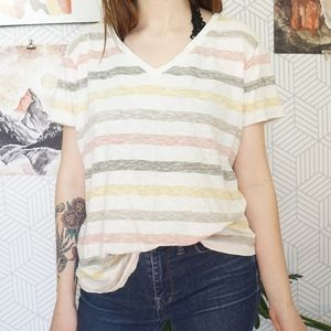 G.H. Bass and Co Striped broken in cotton tee